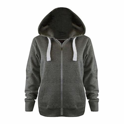 Womens Ladies Zip Up Hoody Fleece Jacket Plain Coloured Hoodie Hooded Sweatshirt