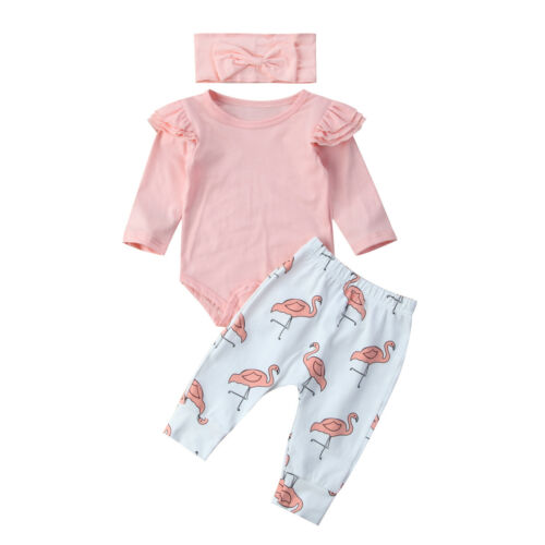 US Seller Newborn Baby Boy Girl Romper Pants Bodysuit Legging Outfit Set Clothes