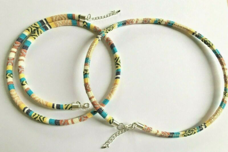 Beige Multi Print Material Necklace. Various Lengths Available