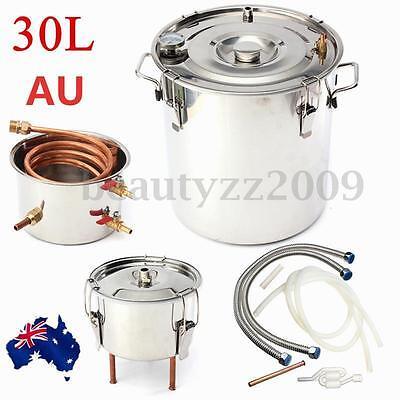30L Moonshine Alcohol Copper Still Water Distiller Stainless Boiler+Thumper Keg