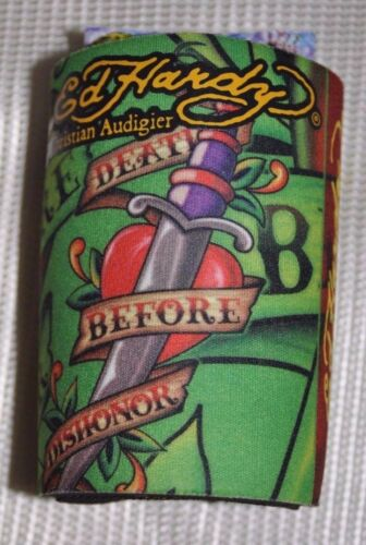 Ed Hardy Tattoo Can Cooler Beverage //Neoprene Koozie Can Coolers select one .