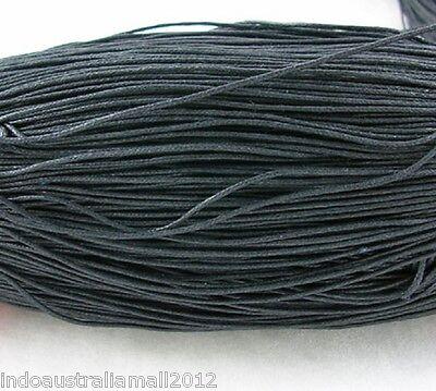 20 Meter Black Premium Cotton Waxed Cord Thread Jewellery making 1mm Dia(YC131)