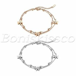 Womens-Adjustable-Stainless-Steel-Flower-Multi-Layer-Anklet-Ankle-Chain-Bracelet