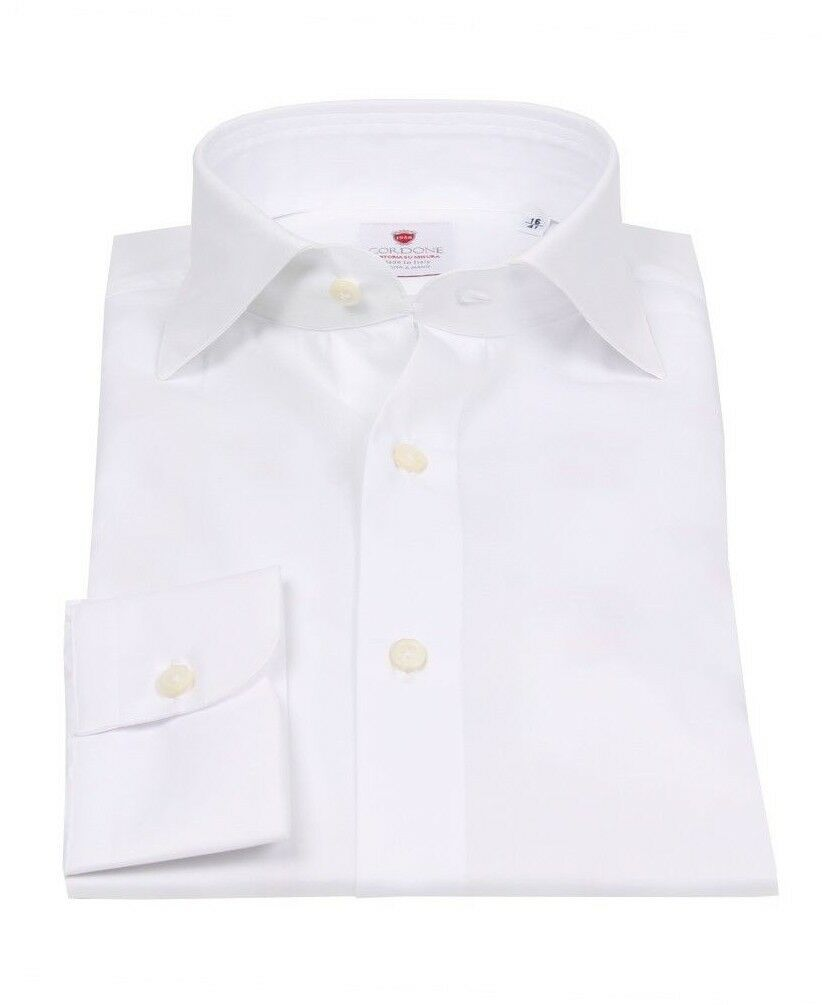 NEW handmade Cordone1956 white shirt size 43 (US 17) slim fit twill