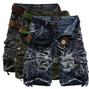 5ce11be8bf Mens Cargo Shorts Long Cotton Print Military Combat Camo Army Knee ...