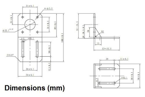 Acciaio Costruzione 3D Stampante /& CNC NEMA17 42mm Motore Supporto