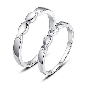 Sterling-Silver-His-and-Hers-Rings-Infinity-Fish-Promise-Rings-Wedding-Rings