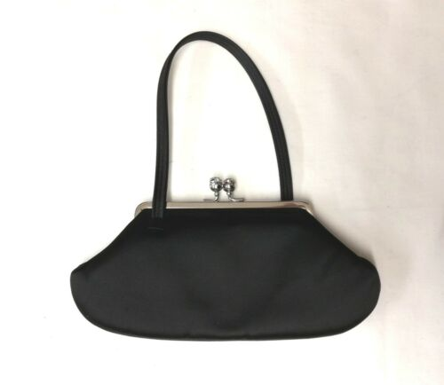 Crystals Festive Black Clutch Hindmarch Party Bag Borsa Satinsmall Nickel Anya qw6CgE