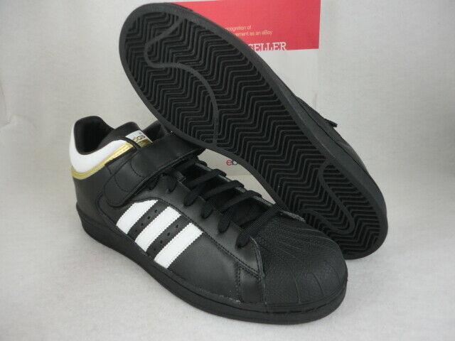 Adidas Pro Shell, Black   White   Metallic gold, Size 13