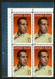 #3152 32c Humphrey Bogart, Placa Bloque [S11111 Ul ] Nuevo Cualquier 4=