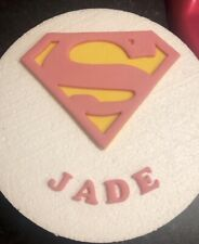 Edible Large Sugar Supergirl Personalised Birthday Cake Topper Girl Name Pink
