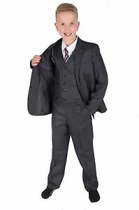 Dark Grey 5 Piece Boy Suits Boys Wedding Suit Page Boy Party Prom 2 ...