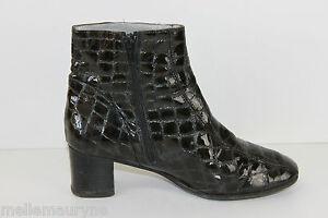 Bottines-Boots-ALEXANDRIA-Tout-Cuir-Verni-Vert-Chasse-T-35-5-BE