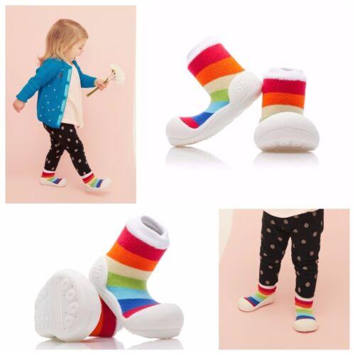 ATTIPAS RAINBOW WHITE barefoot kids shoes fun stylish non slip sole prewalkers