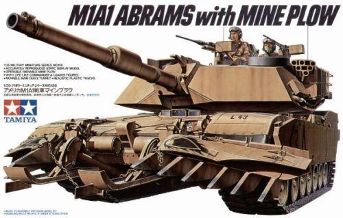 TAMIYA 35158 M1A1 Abrams w Mine Plough 1 35 Military Model Kit