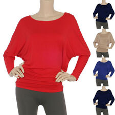 Womens Solid Crewneck S//SLV Modal Asymmetric Hem Tunic