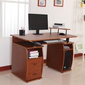 Escritorio Para Computadora De Madera.Detalles De Mesa De Ordenador Pc Oficina Despacho Escuela Escritorio Madera 120x55x85cm