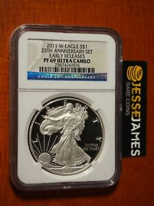 2011-W-PROOF-SILVER-EAGLE-NGC-PF69-ULTRA-CAMEO-FROM-25TH-ANN-SET-EARLY-RELEASES