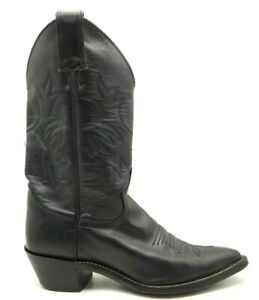 Justin-Black-Leather-Classic-Cowboy-Western-Boots-Shoes-Women-039-s-7-B