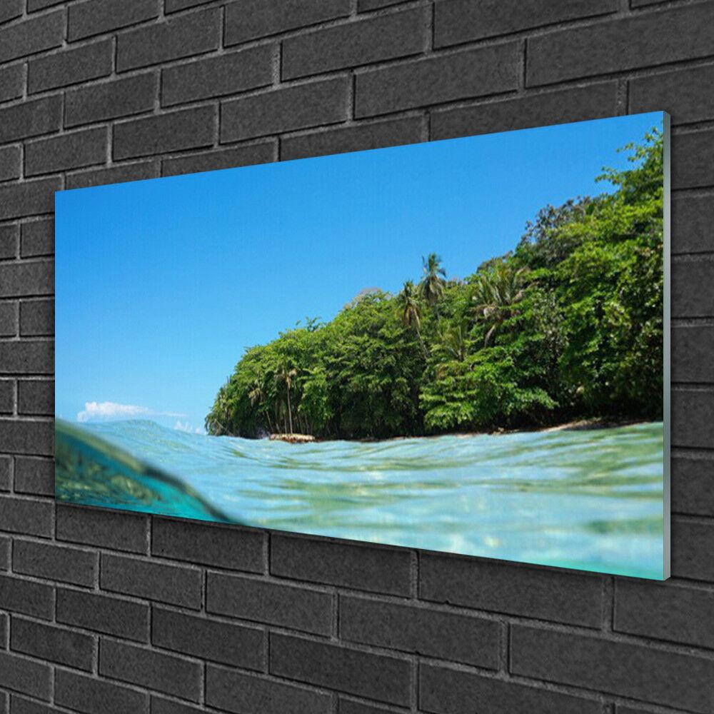 Image sur verre Tableau Impression 100x50 Paysage Mer Arbres