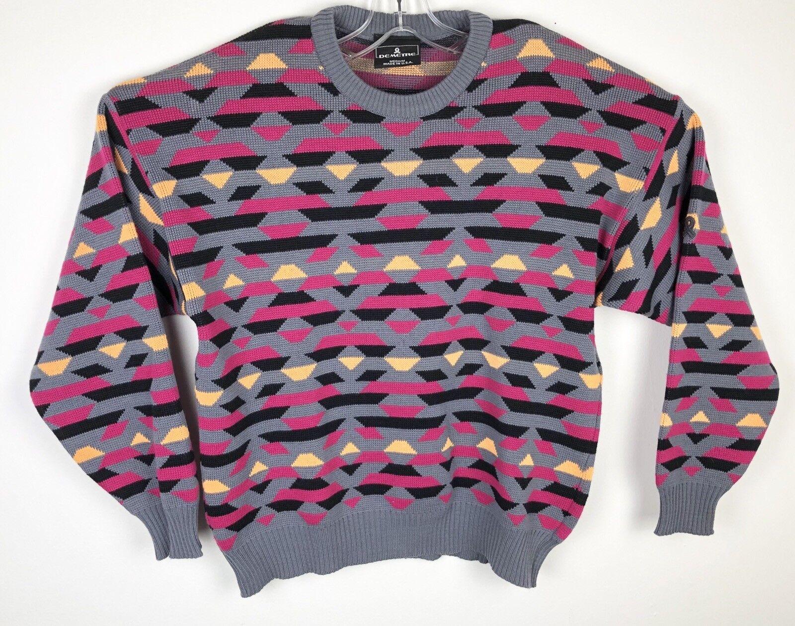 Vintage Demetre Scuttlebutt  Herren Wool Ski Sweater Pullover Multicolor Sz Medium
