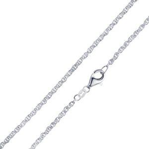 MATERIA  Doppel Ankerkette Silber 925 rhodiniert 2mm Halskette Damen 40-70 cm