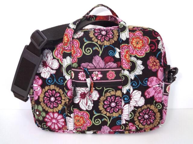 Vera Bradley Mod Floral Brown Pink Messenger Bag Tote Crossbody Laptop  Bookbag 7ac09eee26272