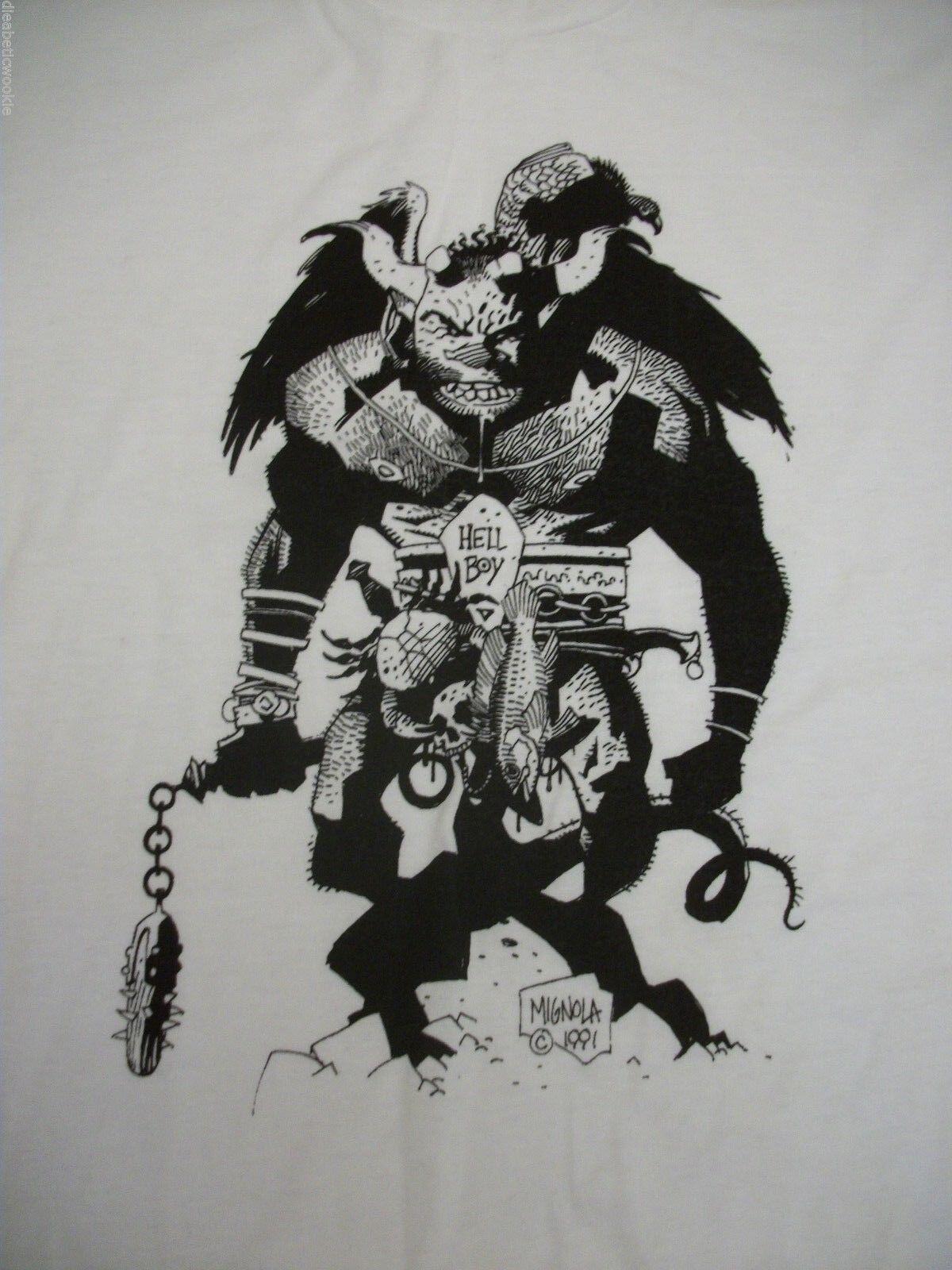 White MondoCon Hellboy Mike Mignola short sleeve mens t-shirt XL cotton RARE