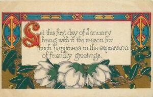 Arts-Crafts-New-Year-Motto-Saying-53-C-1910-Postcard-12169