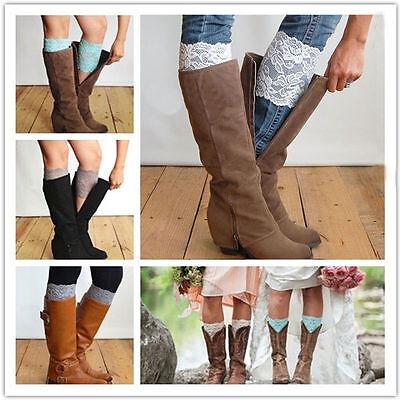 Women Stretch Tough Boot Cuffs Flower Leg Warmers Lace Trim Soft Toppers Socks