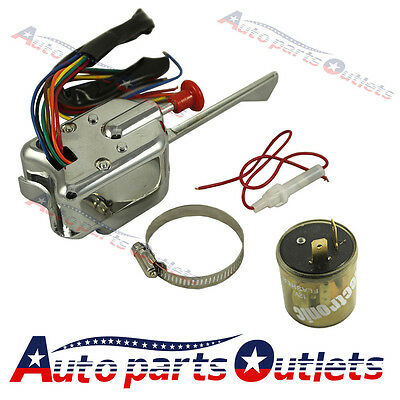 Universal 12V Chrome Street Hot Rod Turn Signal Switch With Flasher For FORD GM