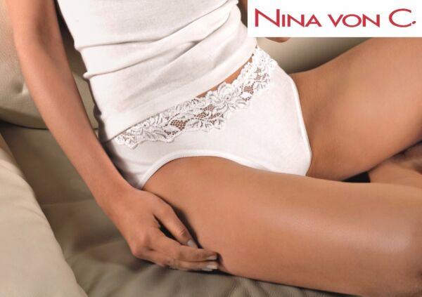 Nina von C. Daily Jazzpant Slip mit Spitzenbund weiß 100% Baumwolle  NEU