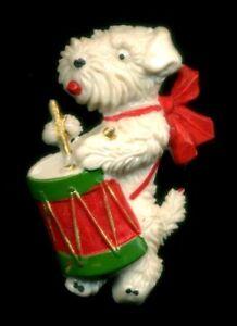 Vintage-Germany-Xmas-Scottie-Dog-Pin-Brooch-Celluloid-Bakelite-Era-Drum