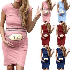 Lady-Women-Print-Pregnant-Maternity-Maternity-Props-Bodycon-Casual-Mini-Dresses