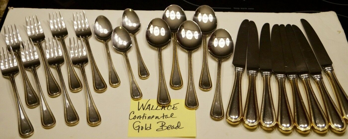 LOT OF 24 PCS. WALLACE 18 10 10 10 STAINLESS CONTINENTAL Gold BEAD FLATWARE 84a80f