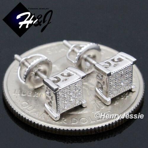 MEN WOMEN 925 STERLING SILVER 6MM LAB DIAMOND SCREW BACK STUD EARRING*E135