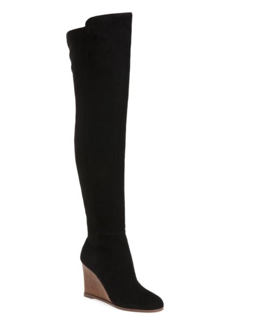 Vince Camuto Granta Women's Black Over Knee Wedge Boot Sz 6.5 2866 *