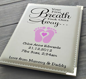 Personalised 7x5 X 36 Photo Album Memory Book Mum Dad Baby Girl