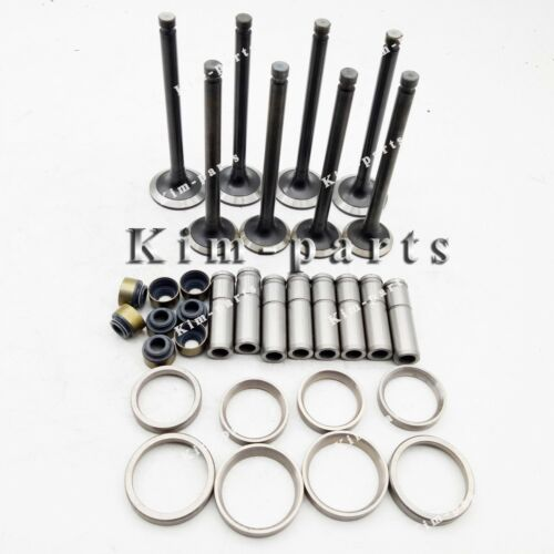 1 Set Valve Guide /& Seat Intake Valve and Exhaust Valve for Yanmar 4TNE98 Engine