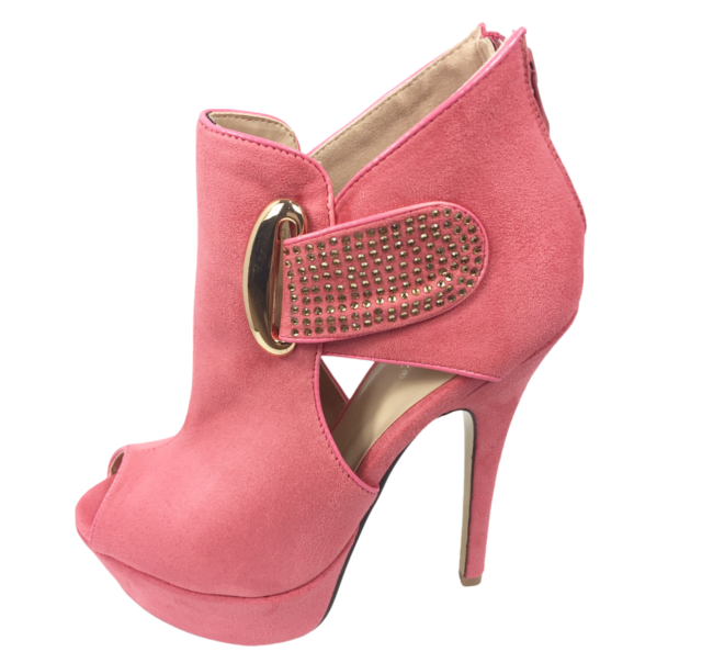 Womens Ladies Pink Faux Suede High Heel Party Peep Toe Shoes Size UK 5 New
