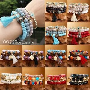 4pcs-Multilayer-Natural-Stone-Crystal-Bangle-Bodhi-Beaded-Tassel-Bracelet-Boho