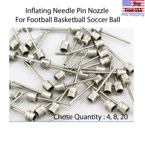 Sports Ball Inflating Air Pump Needle Pin Nozzle Soccer Basketball Football