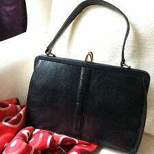 Vintage 50s 60s MAPPIN & WEBB Black Lizard Handbag Bag. Mad Men Era