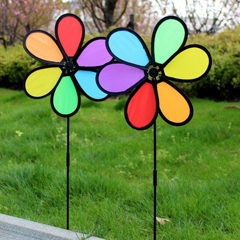 New Colorful Rainbow Dazy Flower Spinner Wind Windmill Garden Yard Outdoor De_hg