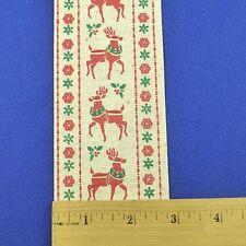 "Vintage Christmas Craft Ribbon Trim Nordic Scandinavian Reindeer 2.75"" x 7 Yards"