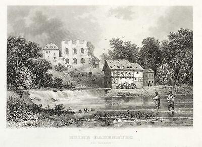 Wieseck (gießen) - Ruine Badenburg - Eduard Duller - Stahlstich 1841