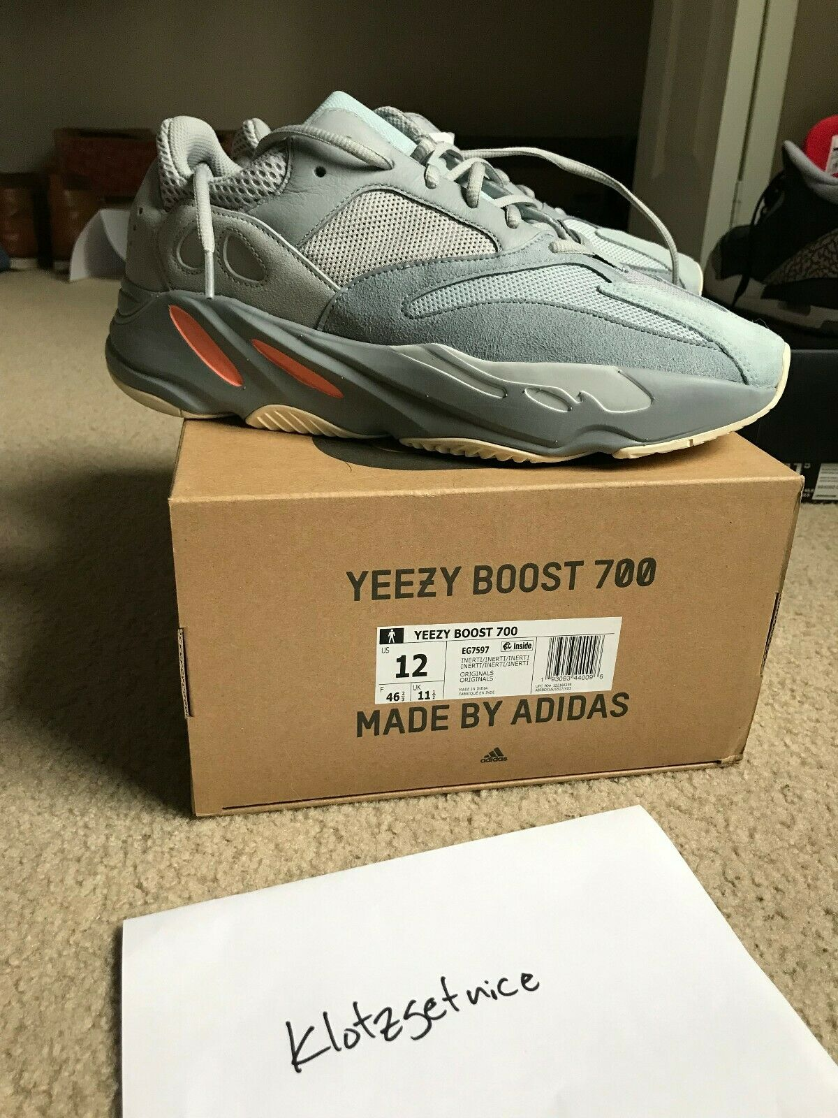 Adidas Yeezy Boost 700 Inertia Size 12 Men's NEVER WORN BRAND NEW