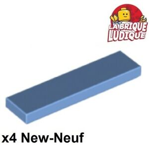 Lego-4x-Tile-plaque-lisse-1x4-with-Groove-bleu-moyen-medium-blue-2431-NEUF