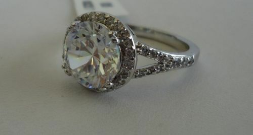 925 STERLING SILVER LADIES WEDDING RING W// 4 CTS WHITE DIAMOND//SIZE 5-9