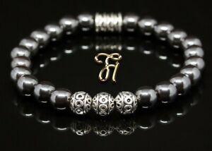 Haematit-Hematit-Armband-Bracelet-Perlenarmband-Silber-Beads-8mm